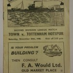 Grimsby Town vs Tottenham November 1948 Signed Programme Front