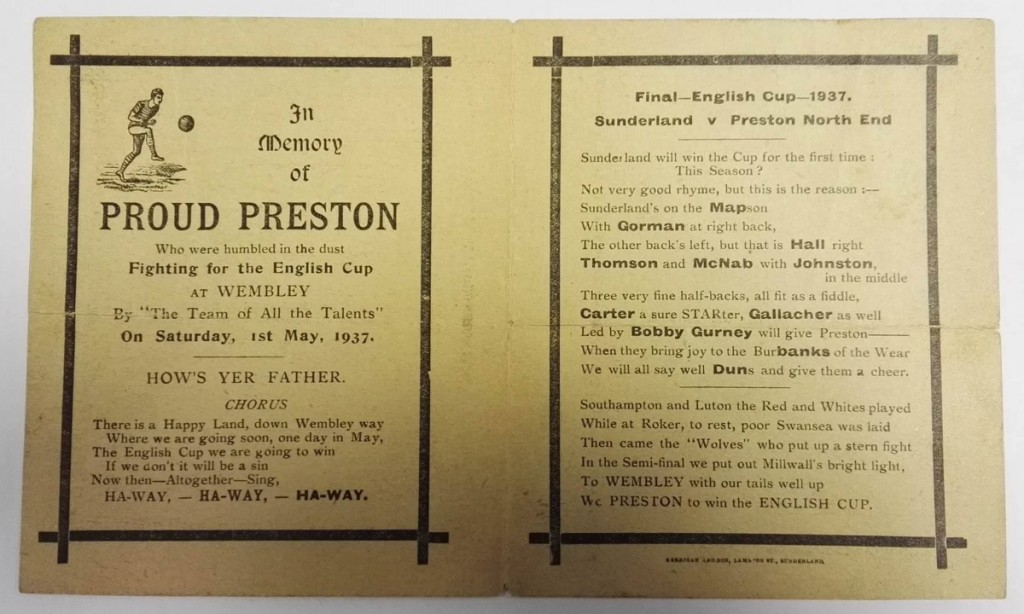 Preston North End FA Cup Final 1937 Memorial Postcard & Programme