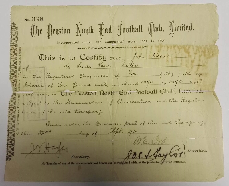 Preston North End Shareholder Certificate 1920