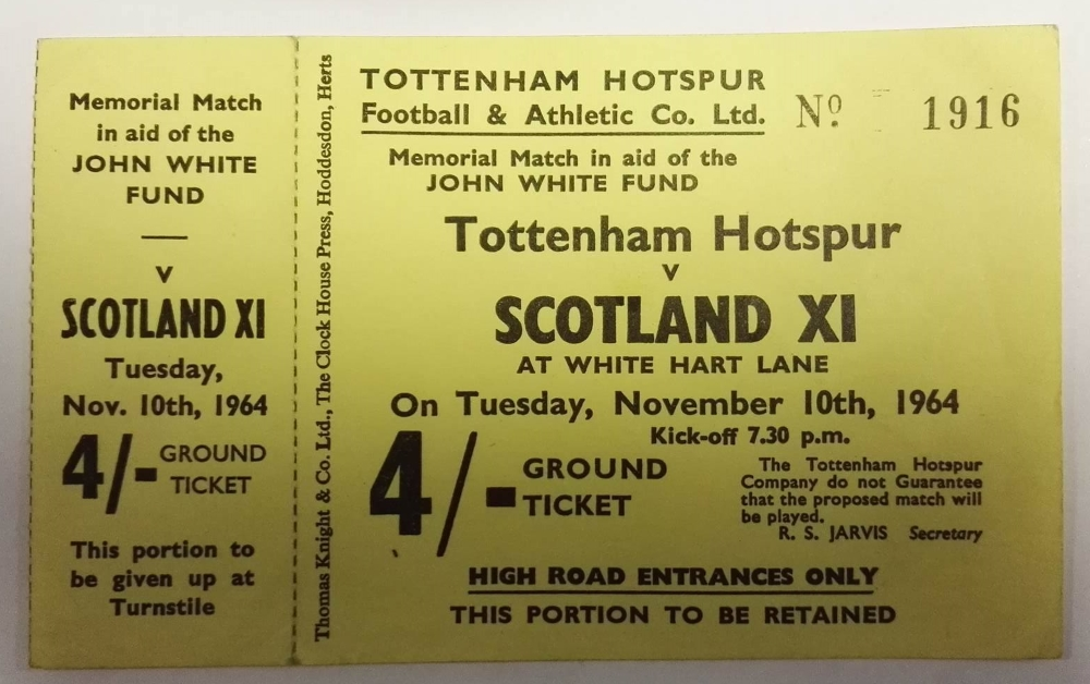 "Unused Tottenham vs Scotland XI ""John White Fund"" Ticket"