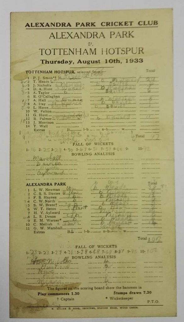 Alexandra Park vs Tottenham Cricket Scorecard