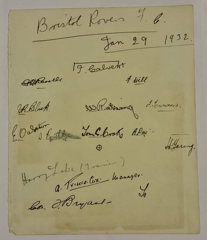 Bristol Rovers Autographs January 1932