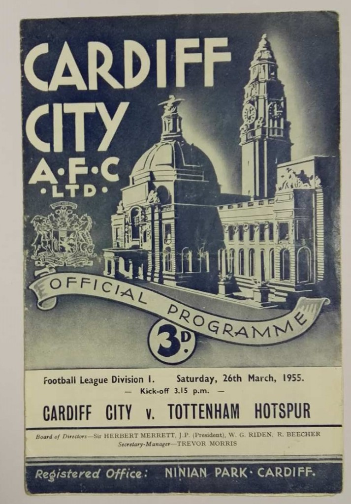 Cardiff City vs Tottenham Signed Programme March 1955