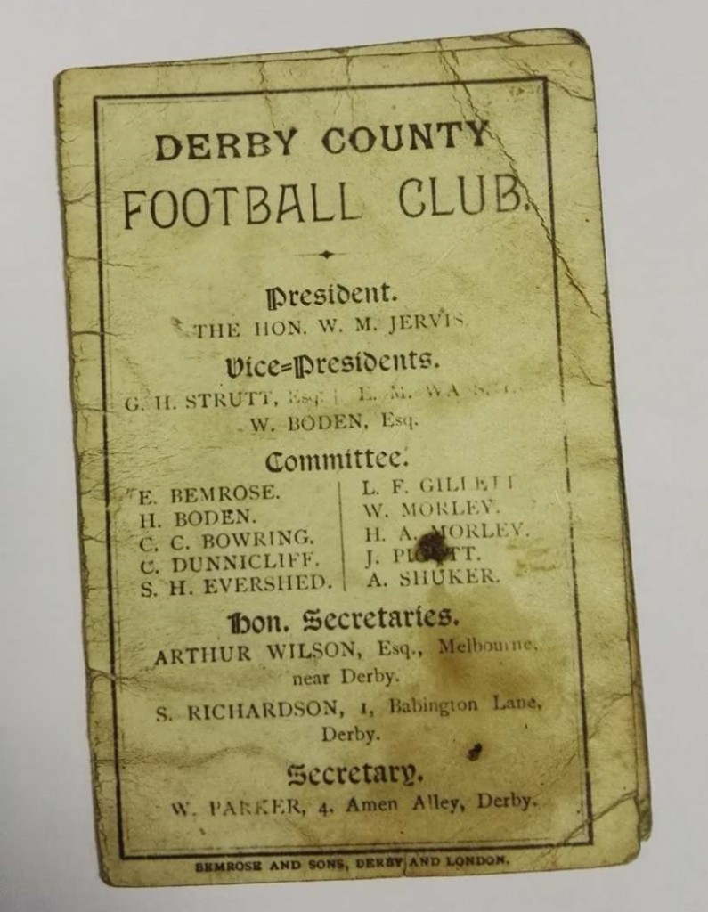 Derby County Fixture List 1884 85 Front