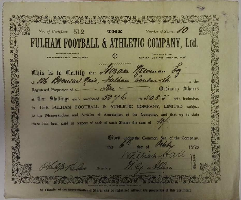 Fulham FC Share Certificate 1910