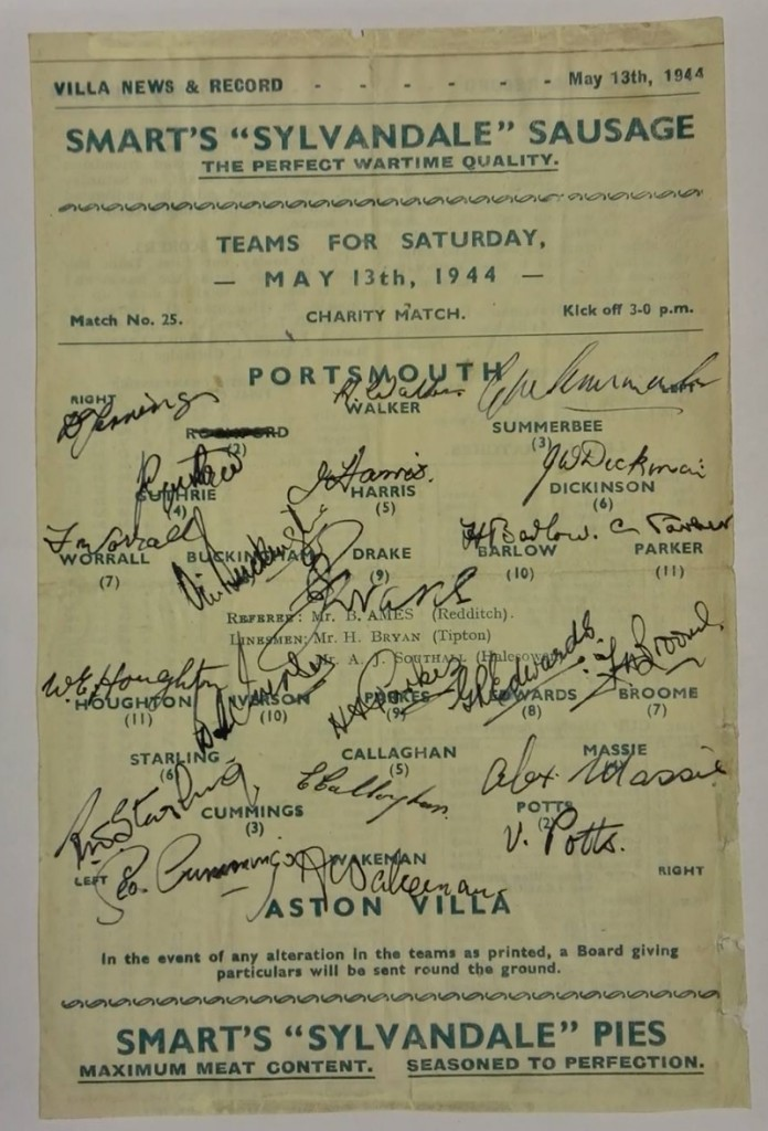 Portsmouth FC vs Aston Villa Signed Programme May 1944