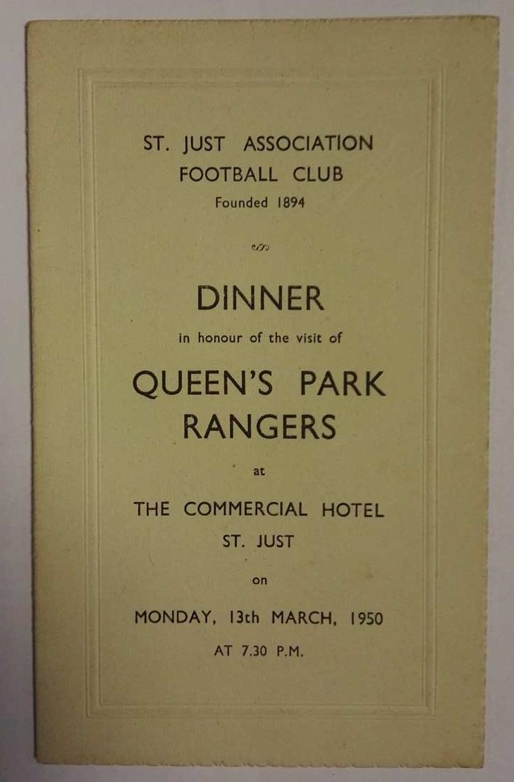QPR vs St Just FA Signed Menu 1950 - front