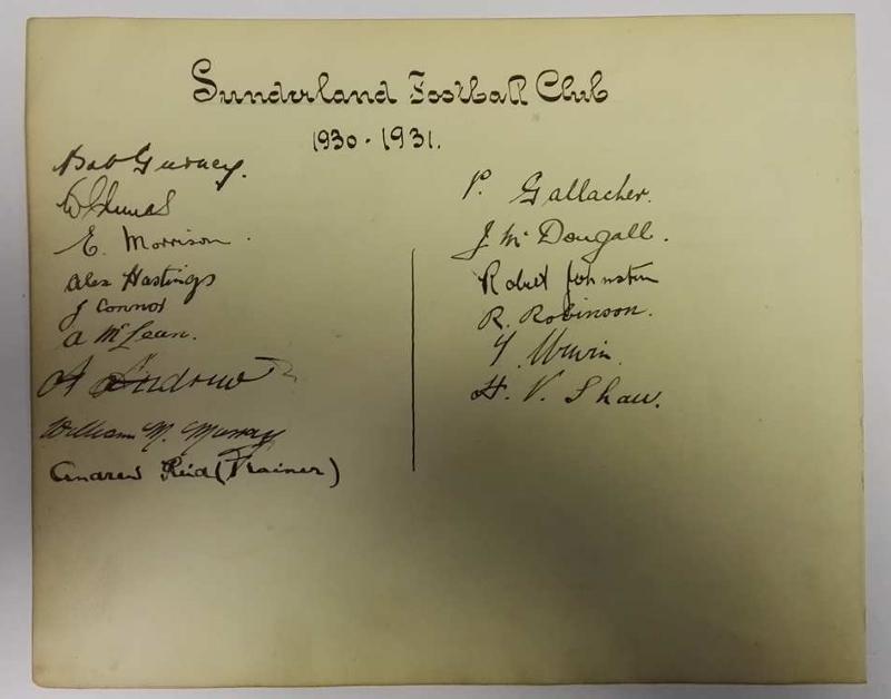 Sunderland AFC 1930/31 Autographs