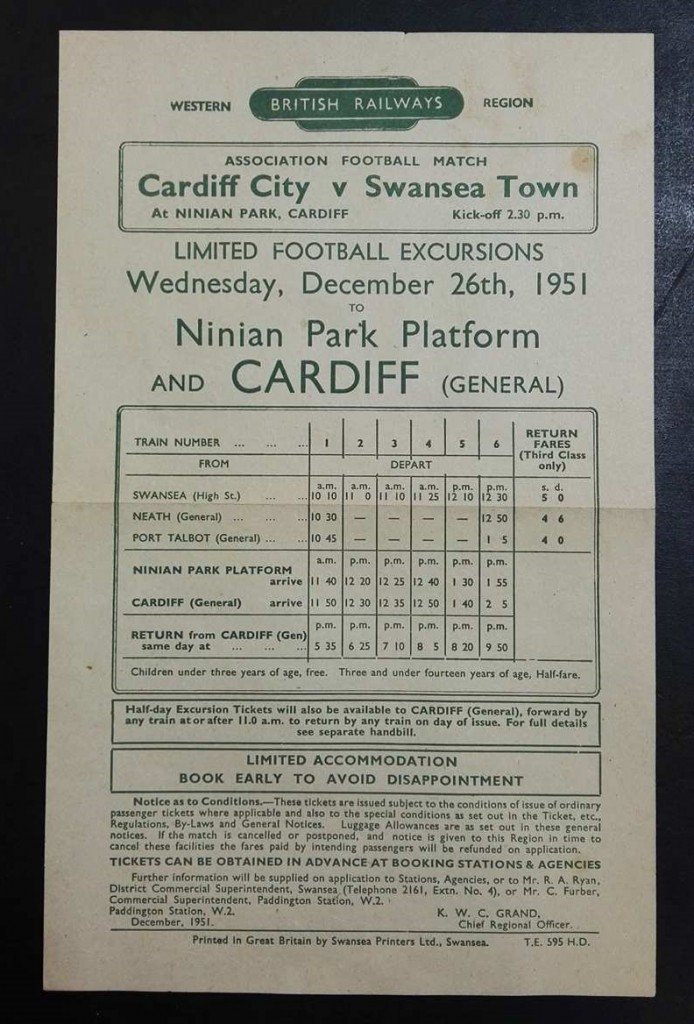 British Railway South Wales Derby Handbill 1951