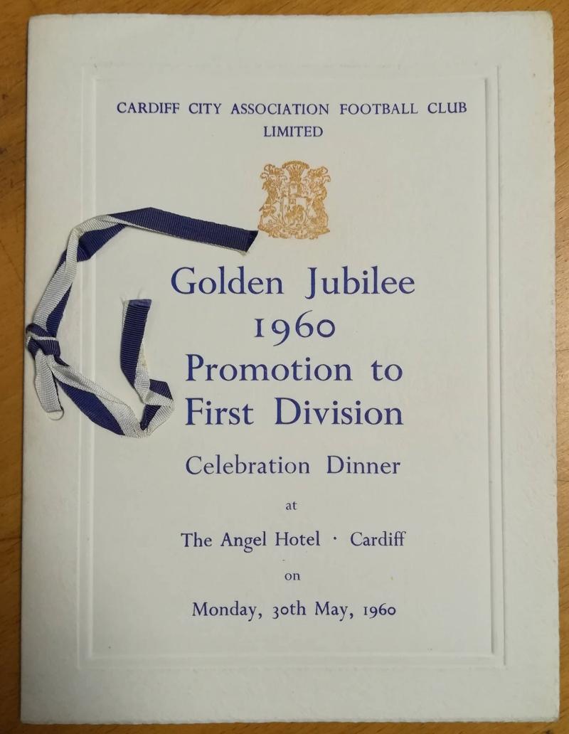 Cardiff City Golden Jubilee Promotion Dinner Menu 1960
