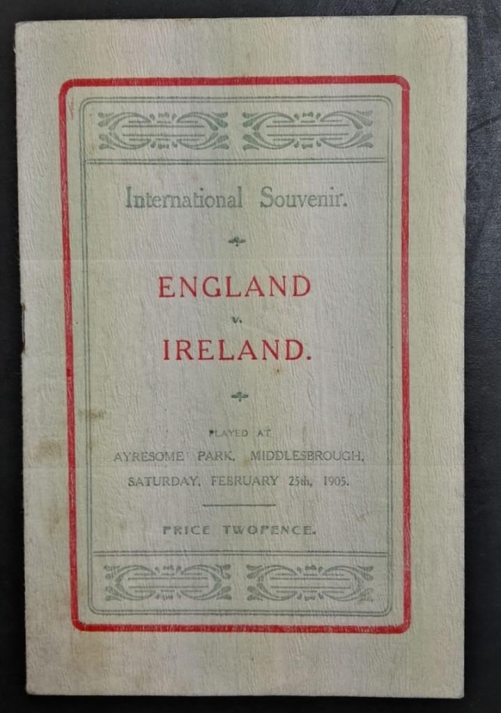 England vs Ireland Programme February 1905