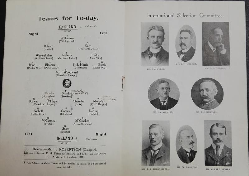 England vs Ireland Programme February 1905 - squads