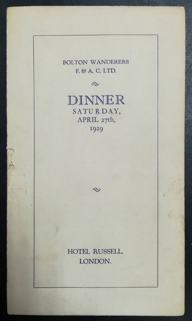 FA Cup Final 1929 Dinner Menu - Signed By Bolton