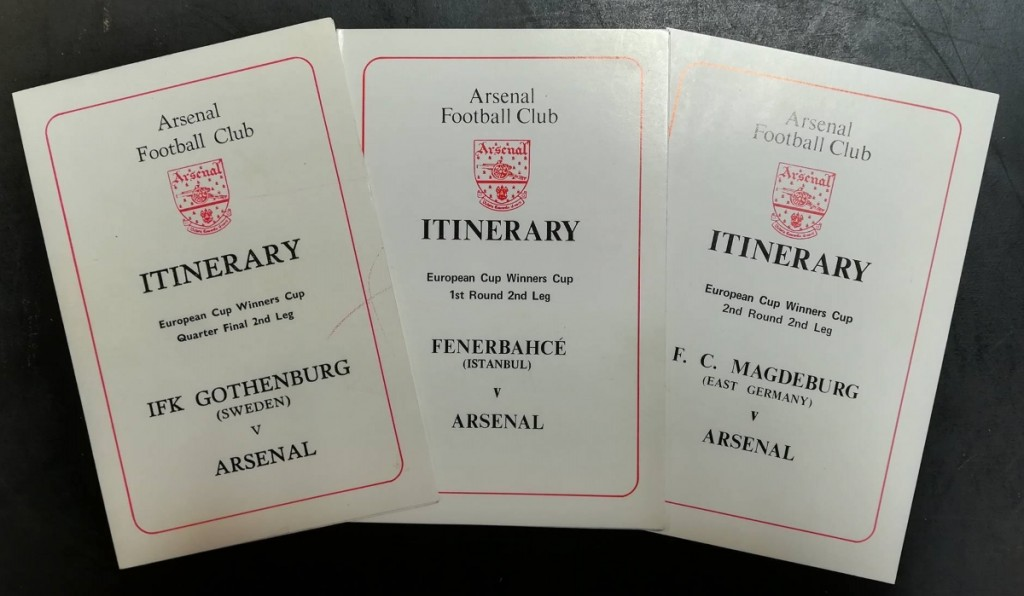 Arsenal European Cup Winners Cup Itineraries
