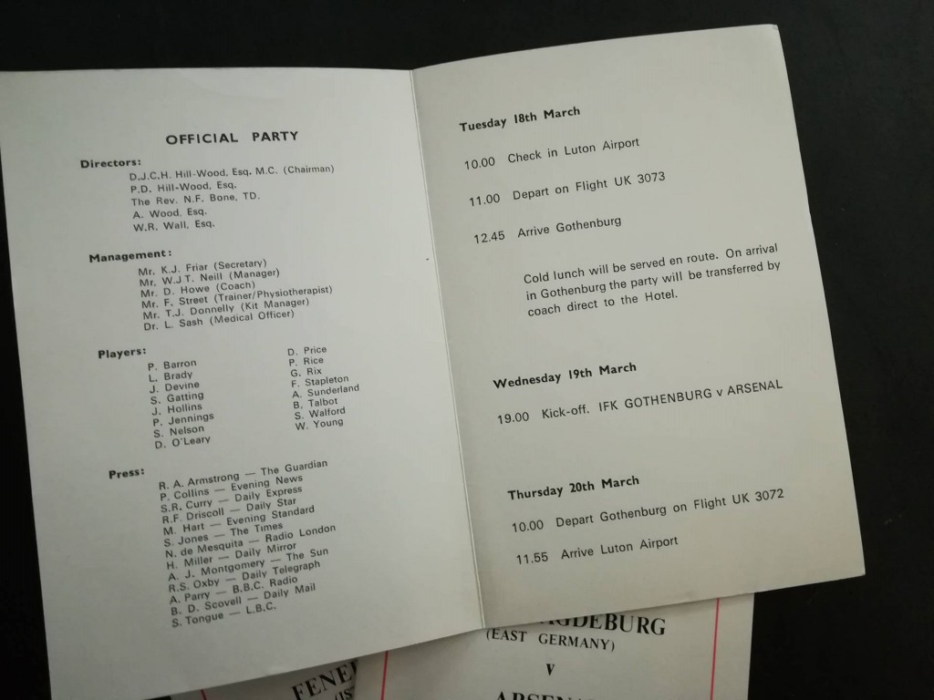 Arsenal European Cup Winners Cup Itineraries inner