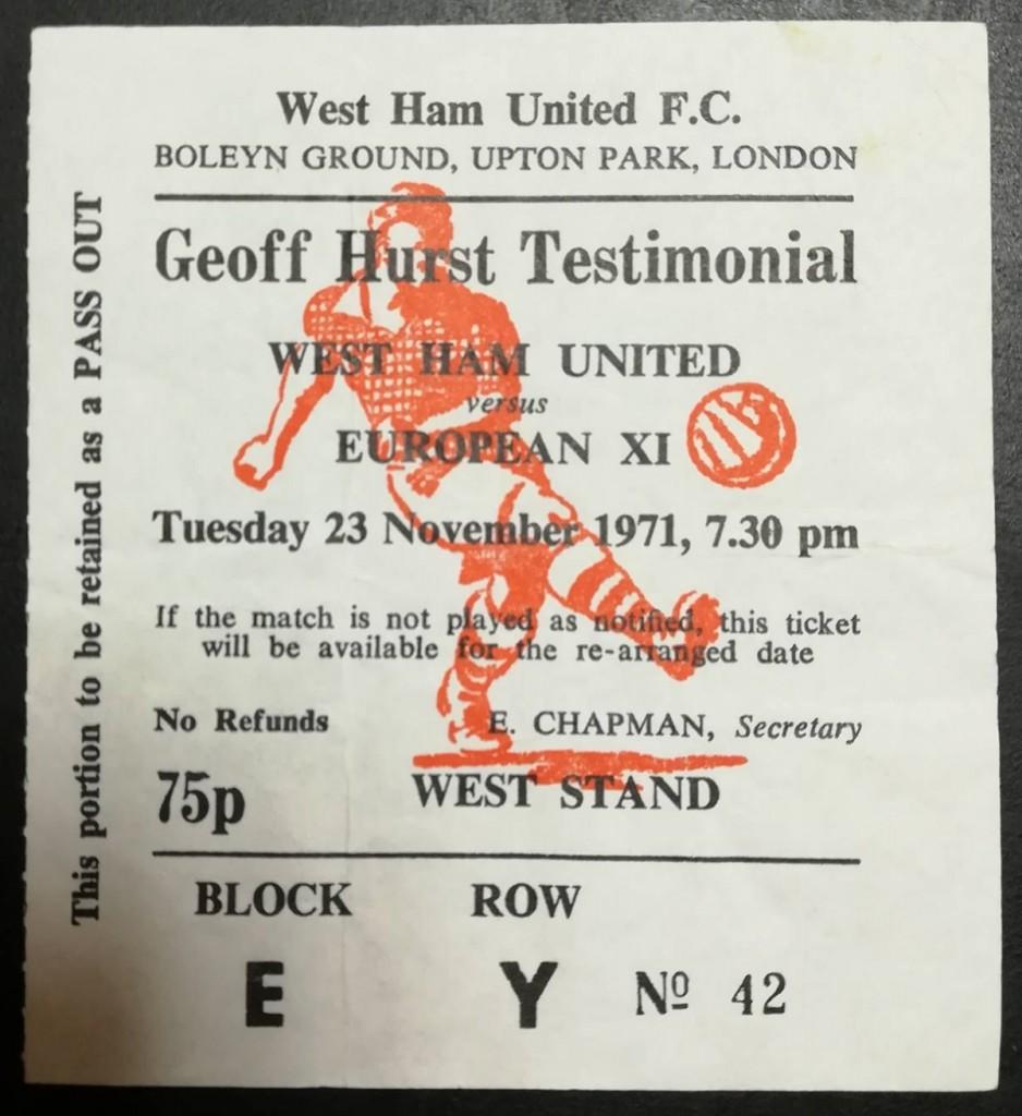 Geoff Hurst Testimonial Ticket 1971