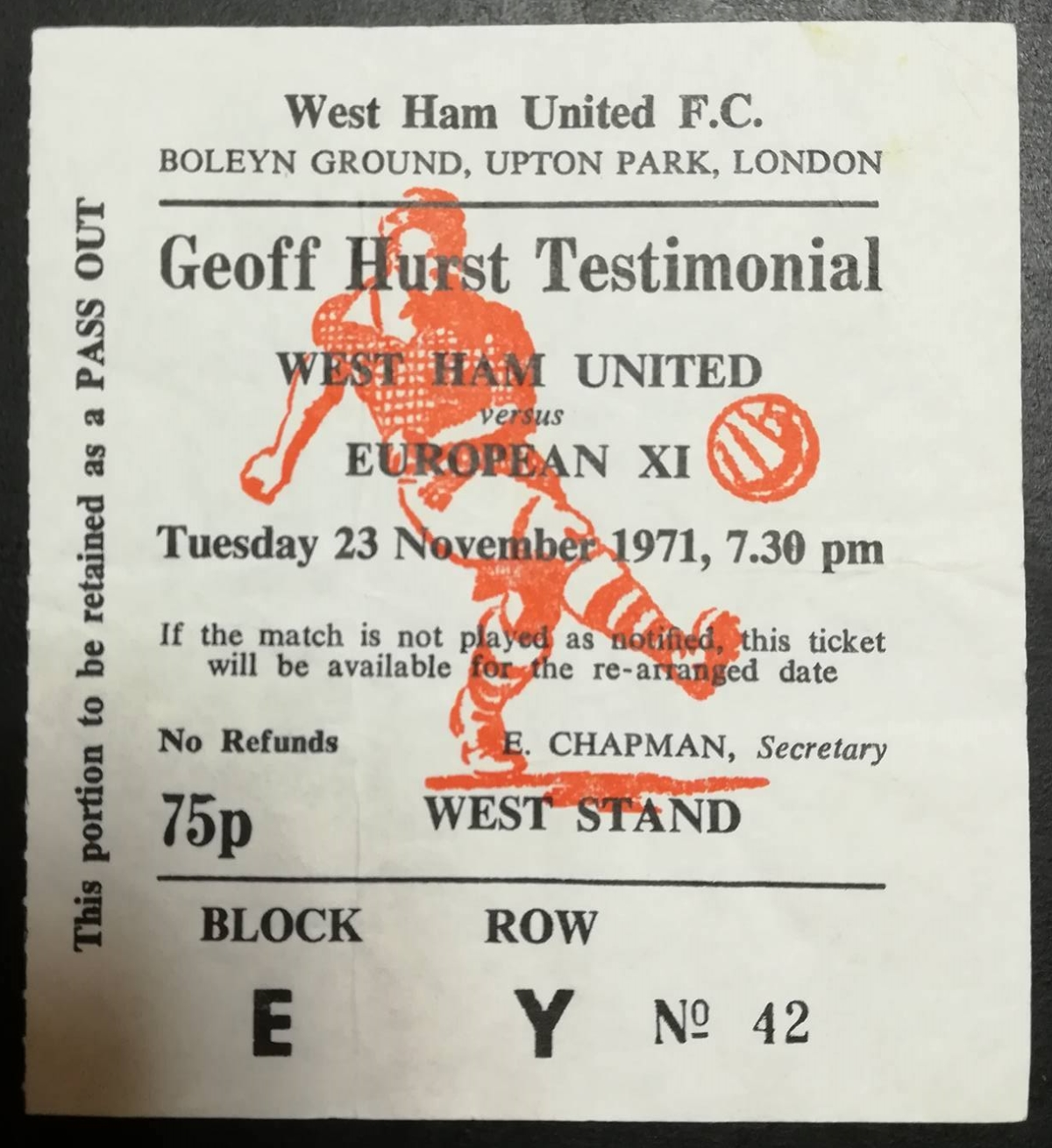 Geoff Hurst testimonial memorabilia