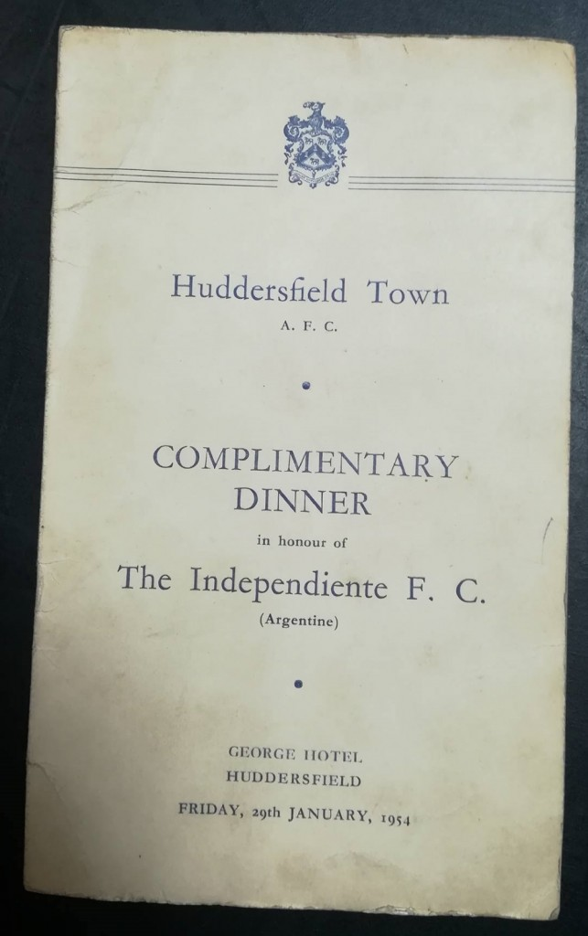 Huddersfield vs Independiente FC Signed Menu 1954