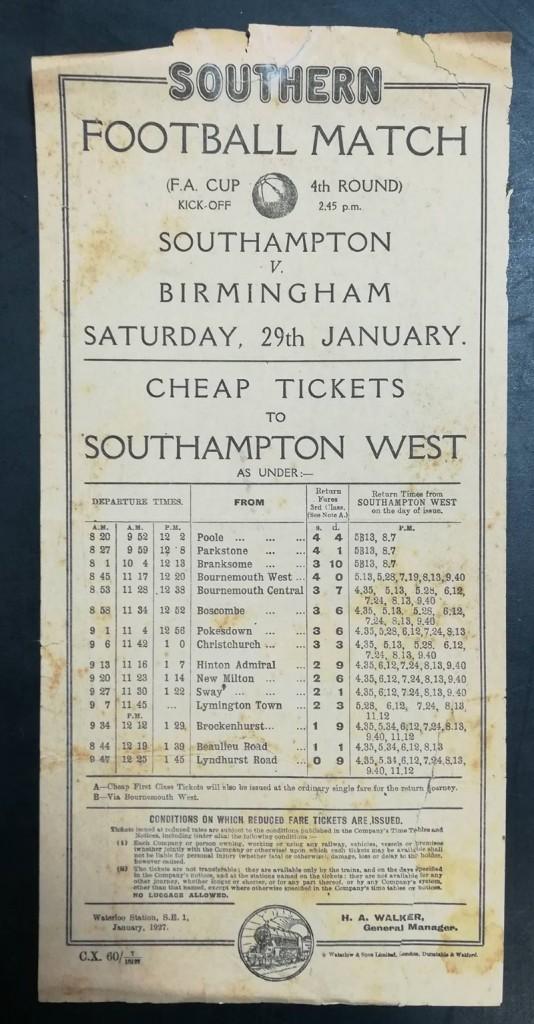 Southampton vs Birmingham Railway Poster 1927