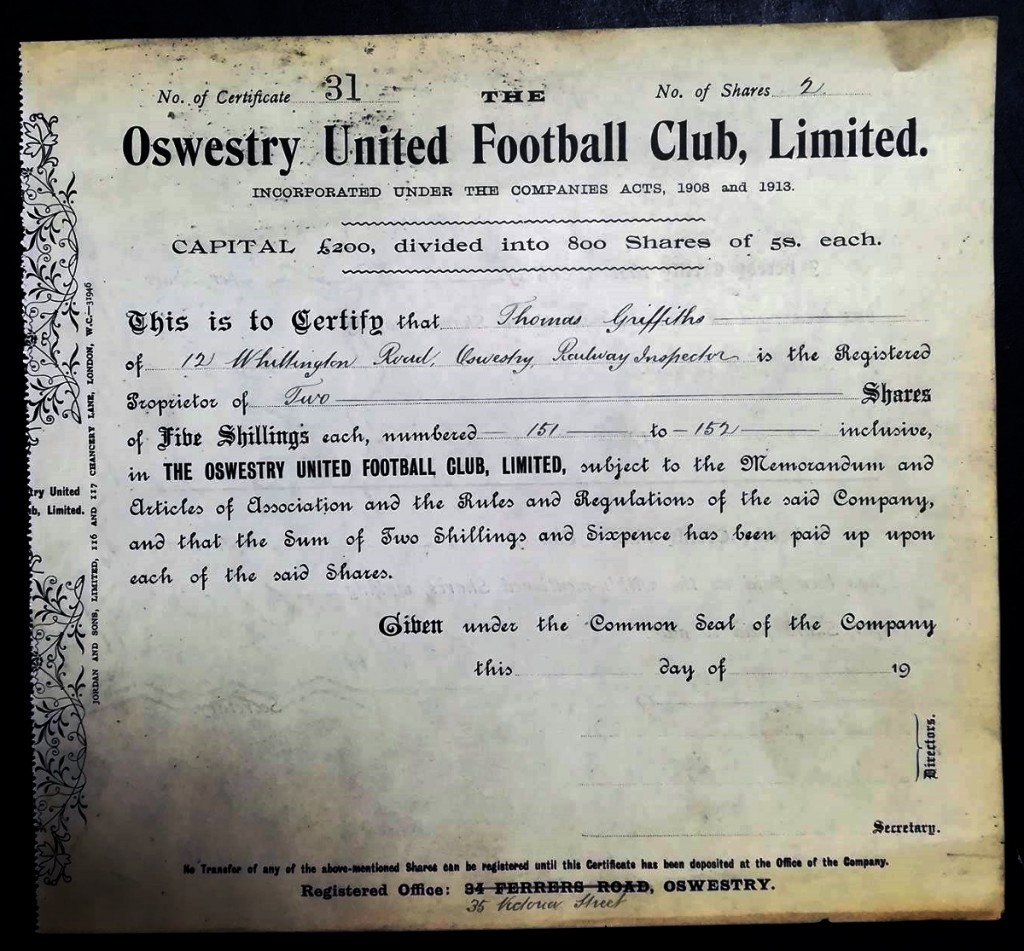 Oswestry United Shareholder Documents