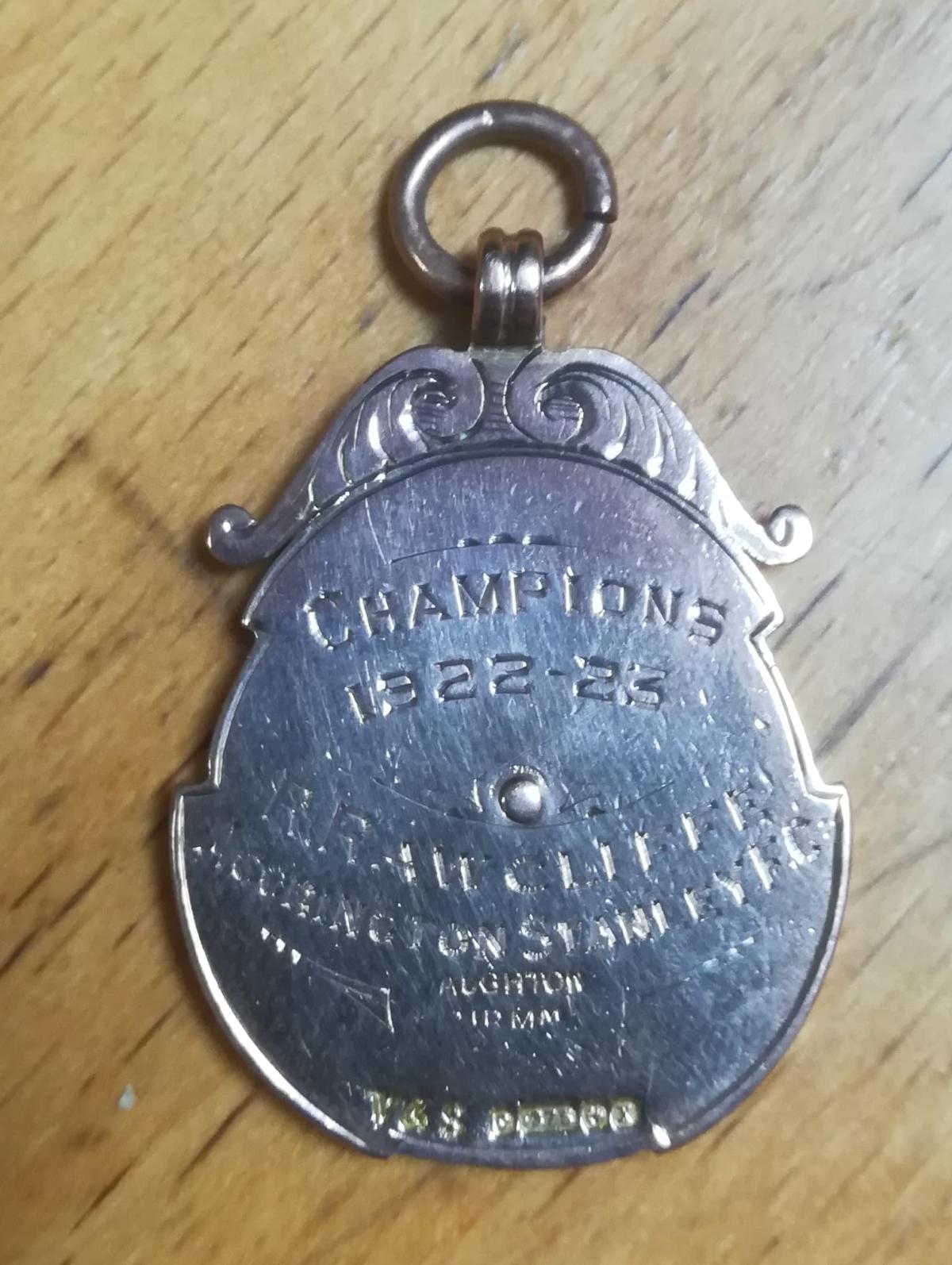 Accrington Stanley West Lancs League Winners Medal 1922-23 - Rear
