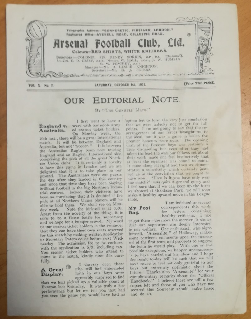 Arsenal vs Everton October 1921 Programme