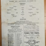 Arsenal vs Everton October 1921 Programme - Rear