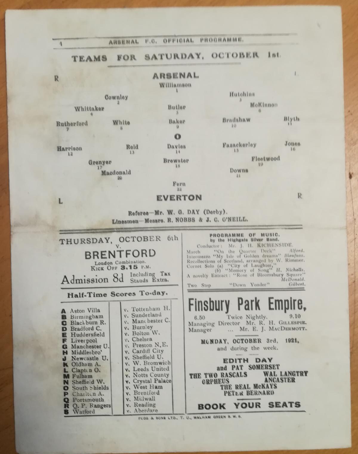 Arsenal vs Everton October 1921 Programme - Rear