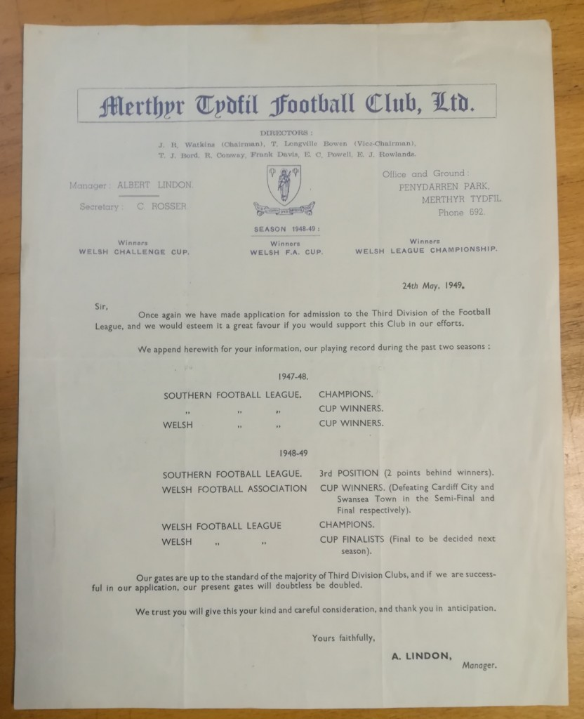Merthyr Tydfil FC 3rd Division Application Letter 1949