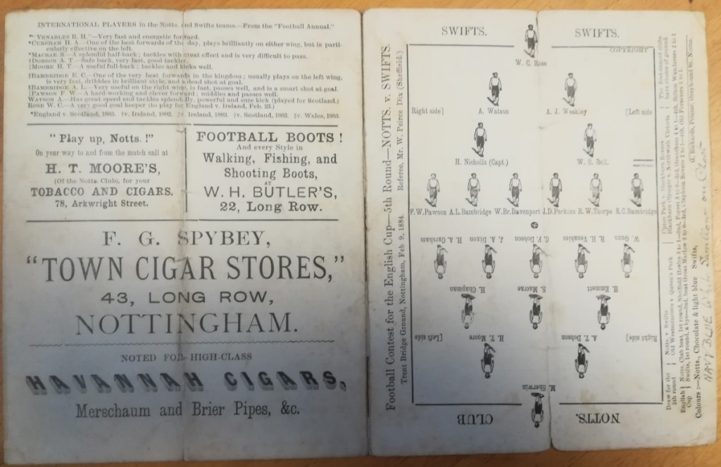 Notts County vs Swifts FC Programme 1884