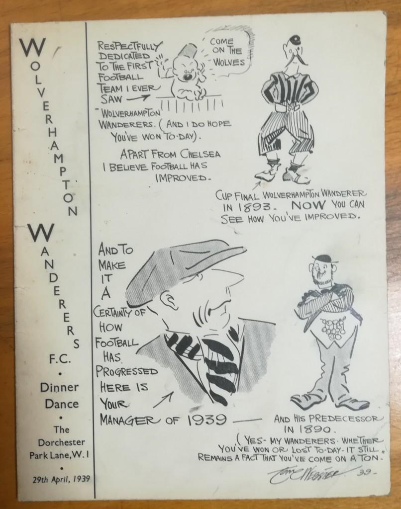 Wolverhampton Wanderers April 1939 Dinner Menu
