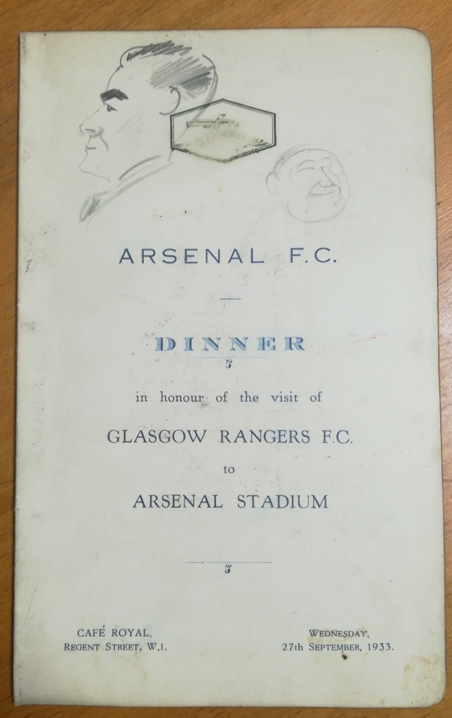 Arsenal vs Rangers Dinner Menu 1933
