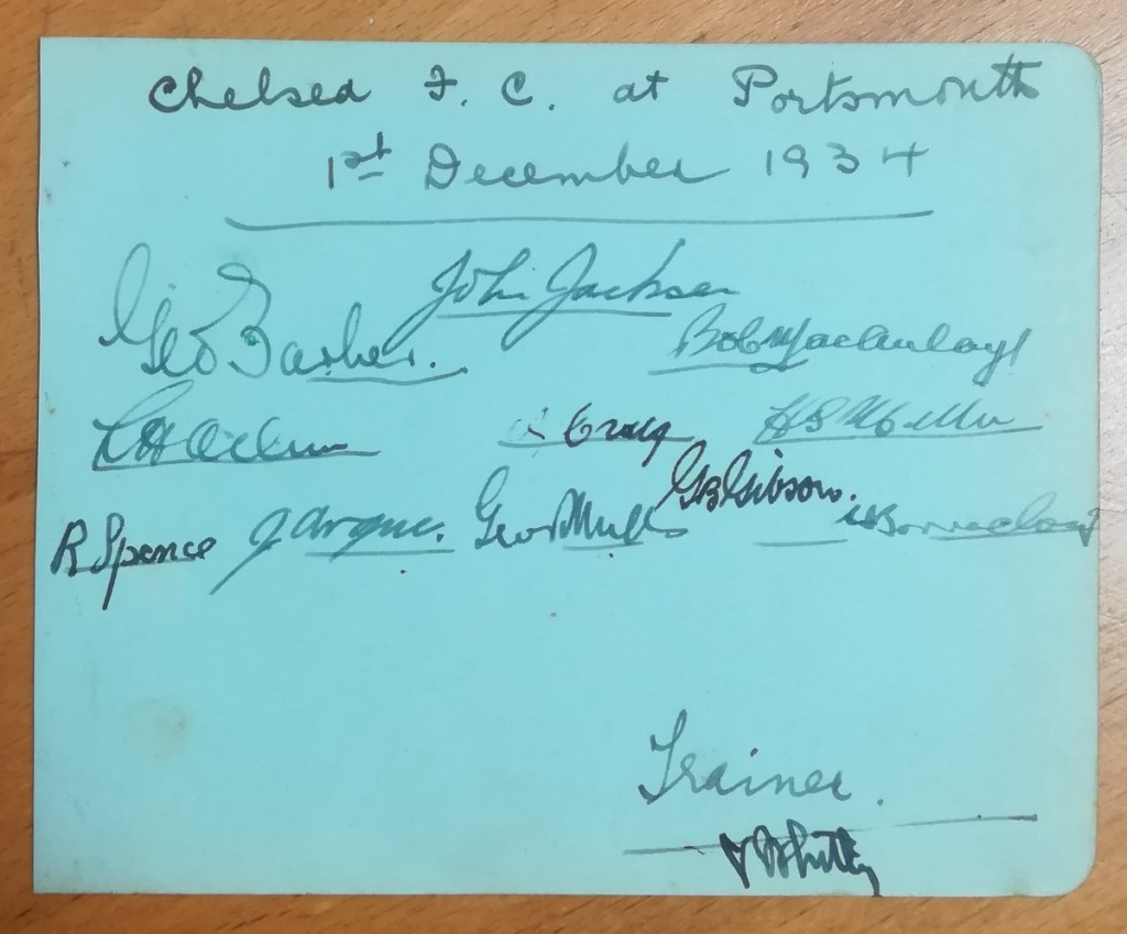 Chelsea vs Portsmouth December 1934 Autographs