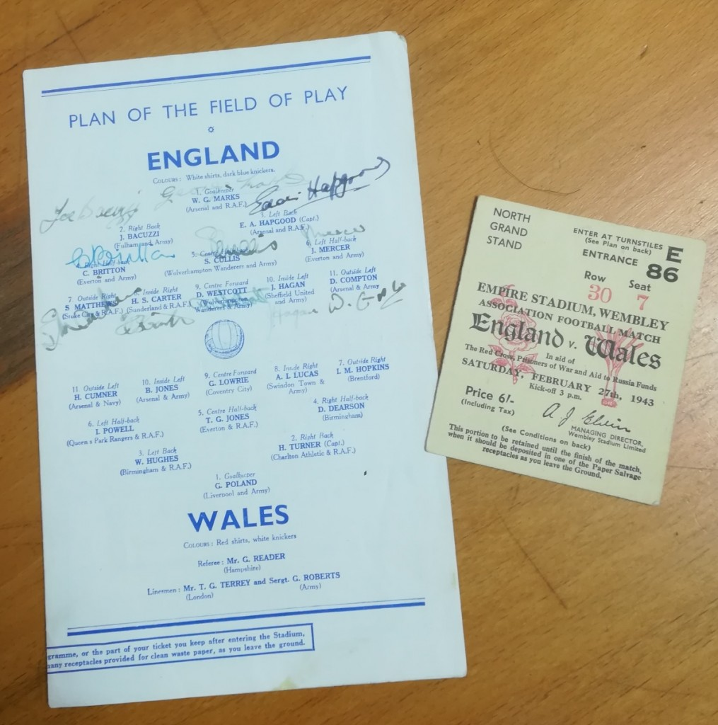 England vs Wales February 1943 Ticket & Programme