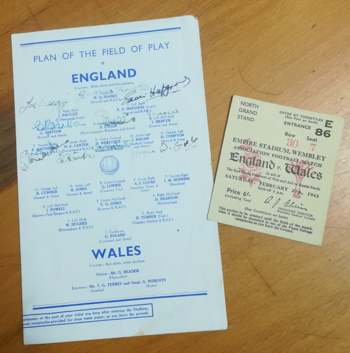 Wartime England programme collector