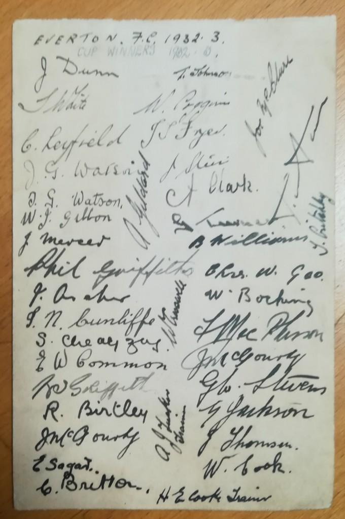 Everton FA Cup Final 1933 Autographs