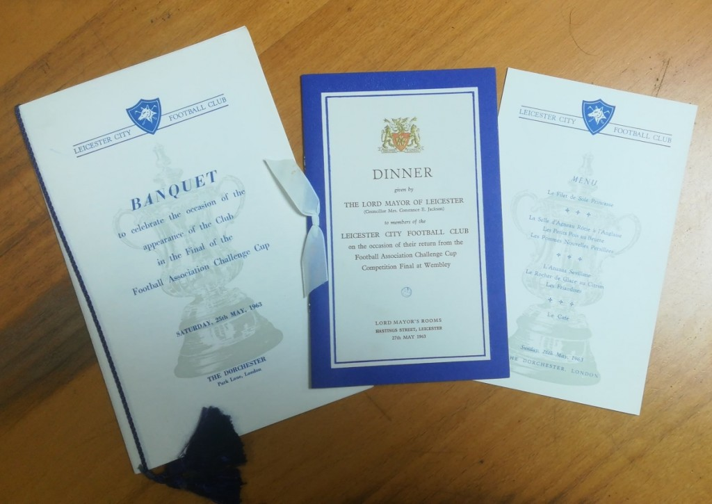 Leicester City FA Cup Final 1963 Dinner Menu
