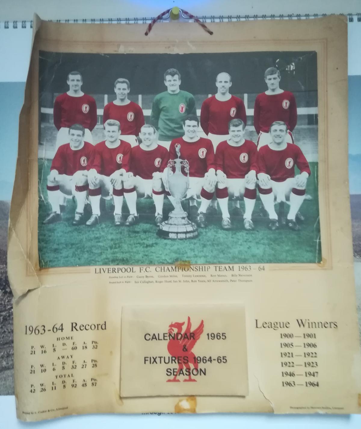 Liverpool FC calendar 1965