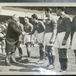 Foreign Minister Ernest Bevin greets the visiting French team at Highbury in May 1947.