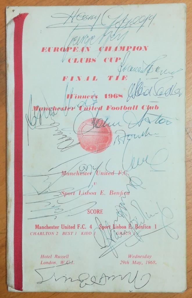 European Champion Clubs Cup Final 1968 - Signed Menu
