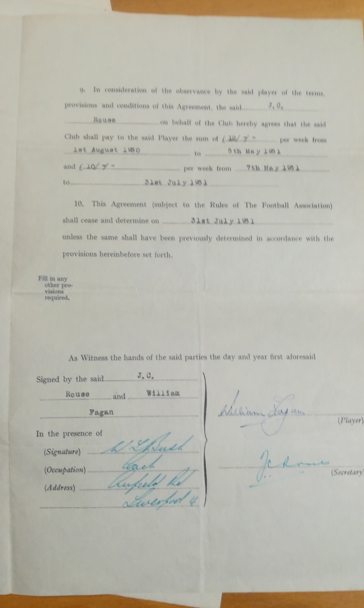 Willie Fagan - LFC Contracts - Inner