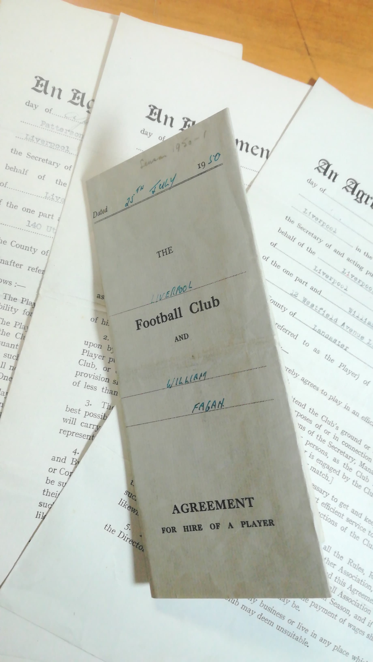 Willie Fagan - Liverpool Contracts x 5