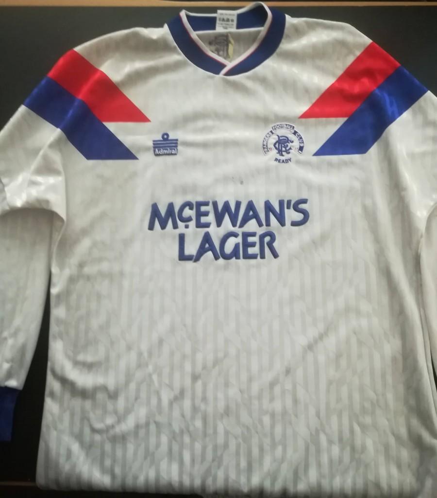 Rangers Admiral Long Sleeved Matchworn Away Shirt - 1990 to 1992