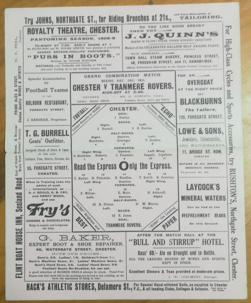 Chester vs Tranmere Rovers - Boxing Day 1908 Programme