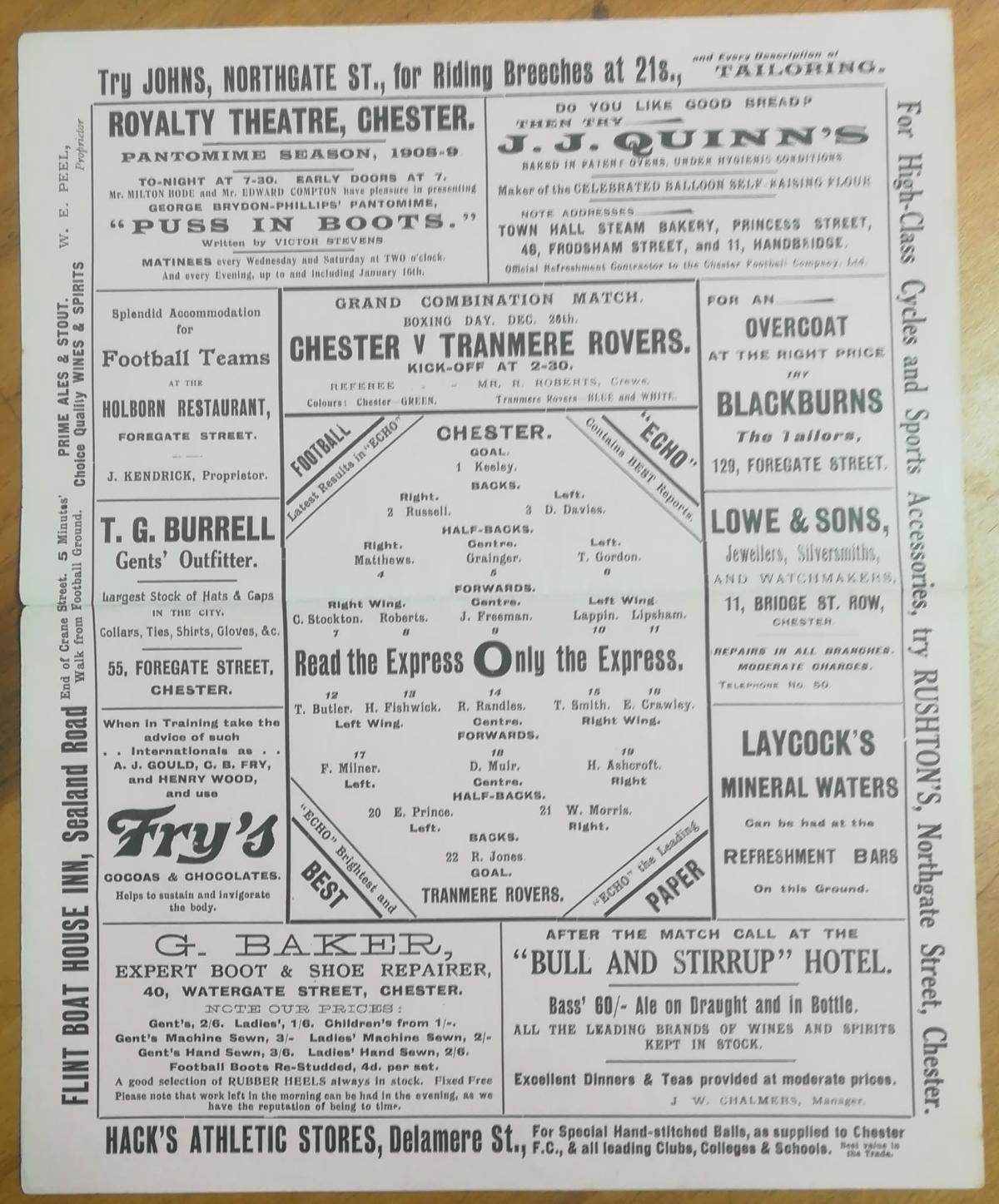 Chester vs Tranmere Dec 1908 - Front