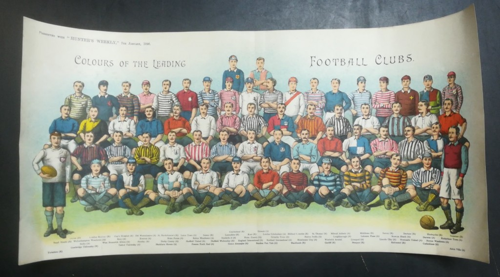 Colours Of The Leading Football Clubs Poster - Hunters Weekly 1896