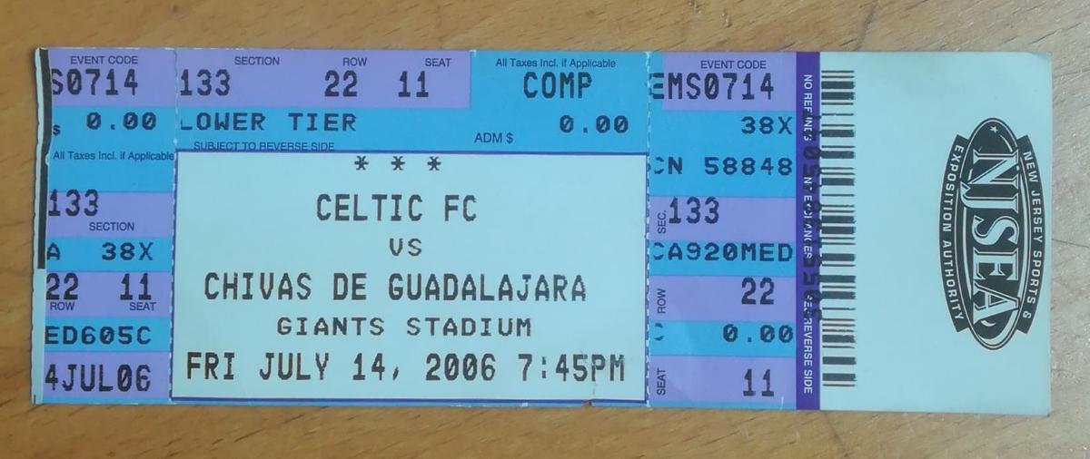 Alan Thompson's Celtic vs Chivas of Guadalajara Matchworn Shirt - Matching Ticket