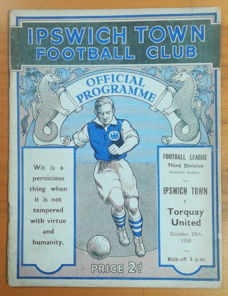 Ipswich Town vs Torquay United Programme - 29th October 1938