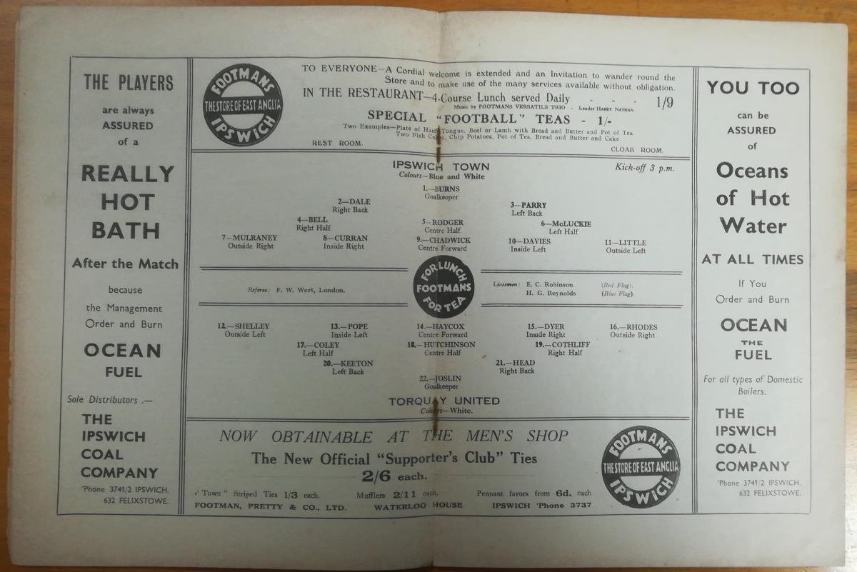Ipswich Town vs Torquay United 1938 - Teams