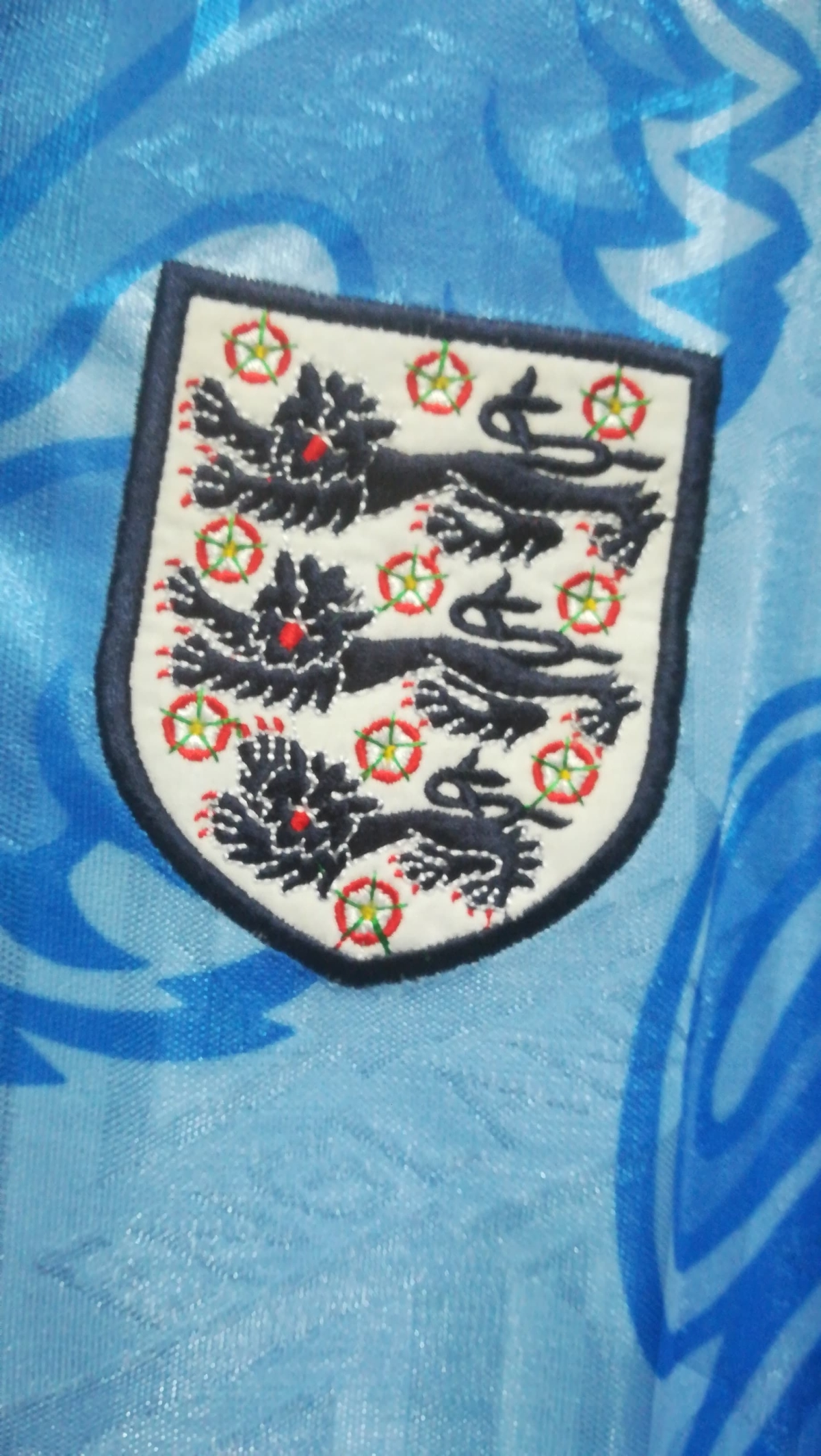 David White's England Debut Shirt v Spain - 1992 - Badge